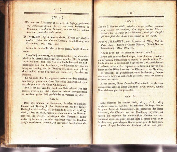 Pagina 10 en 11 van het Journal Officiel 1816 betreffende de wet van een belasting op runderen, paarden en schapen.