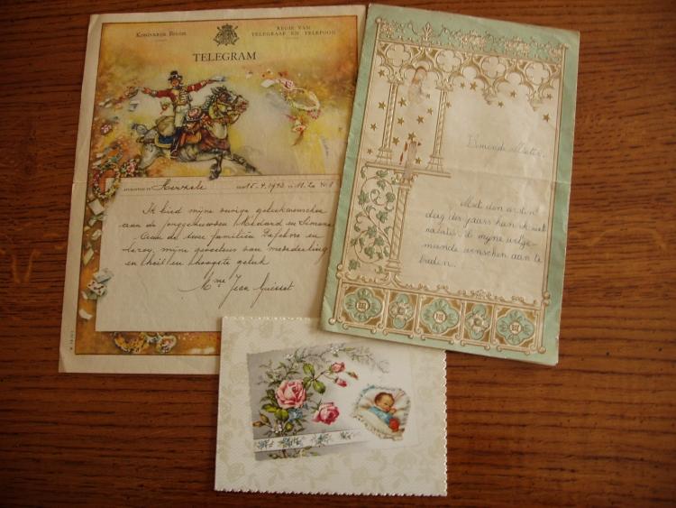 Huwelijkstelegram, nieuwjaarsbrief en geboortekaartje